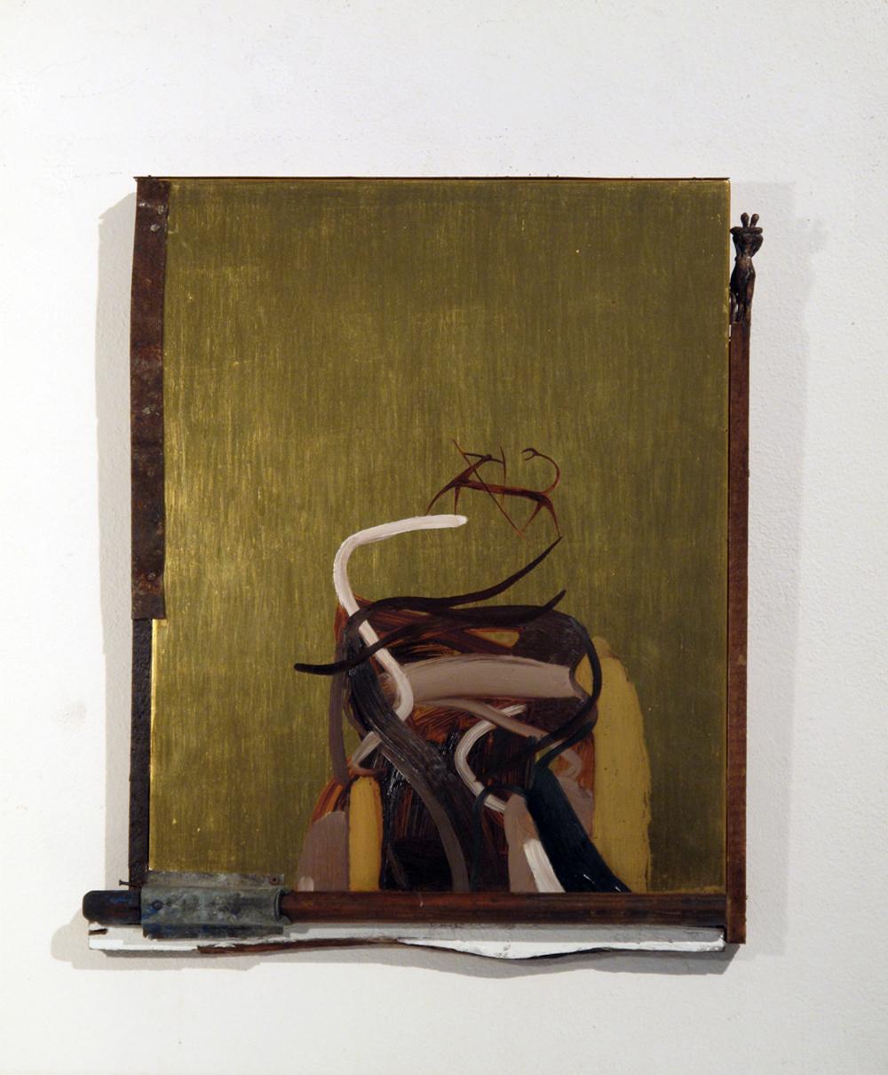 L'occhio di Narciso, 2009, foglia d'oro su legno e tecnica mista, cm 46x55x5