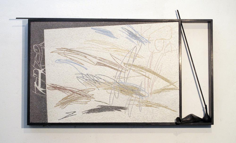 L'occhio di Narciso, 2009, micromosaico, bronzo e ferro, cm 134x78,5x13