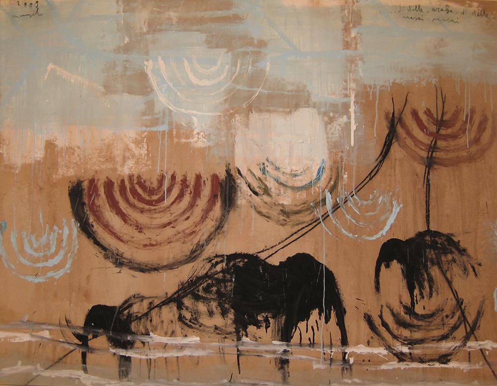 ... Di stelle. Araba. Di stelle. Masai Masai, 2009, tecnica mista su tela, cm 137x140