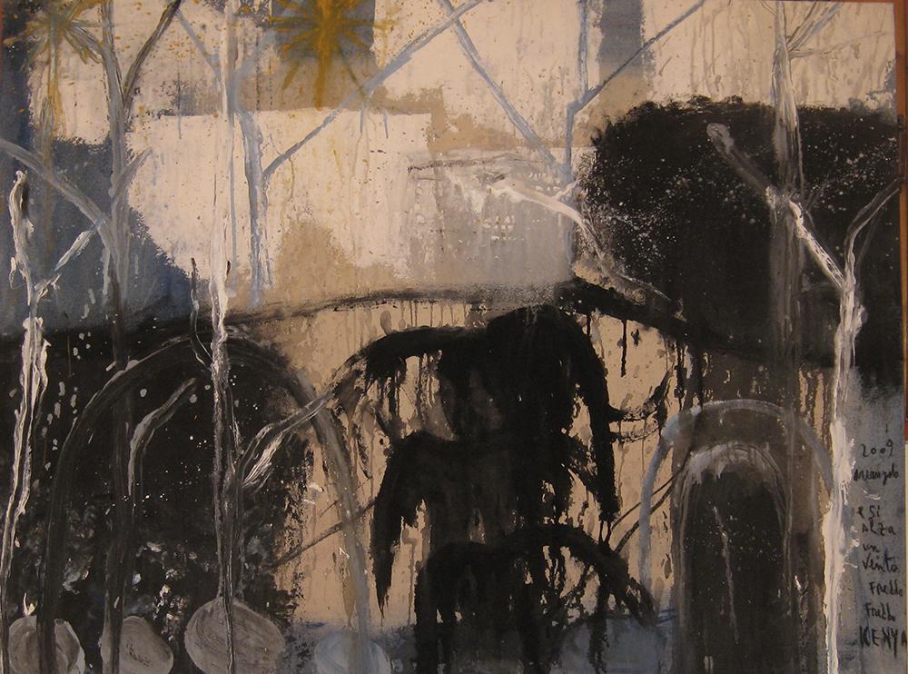 E si alza un vento freddo freddo, 2009, tecnica mista su tela, cm 84x112