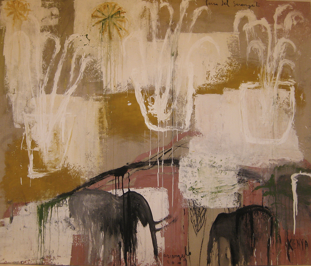 Terra del Serengeti, 2009, tecnica mista su tela, cm 134x160