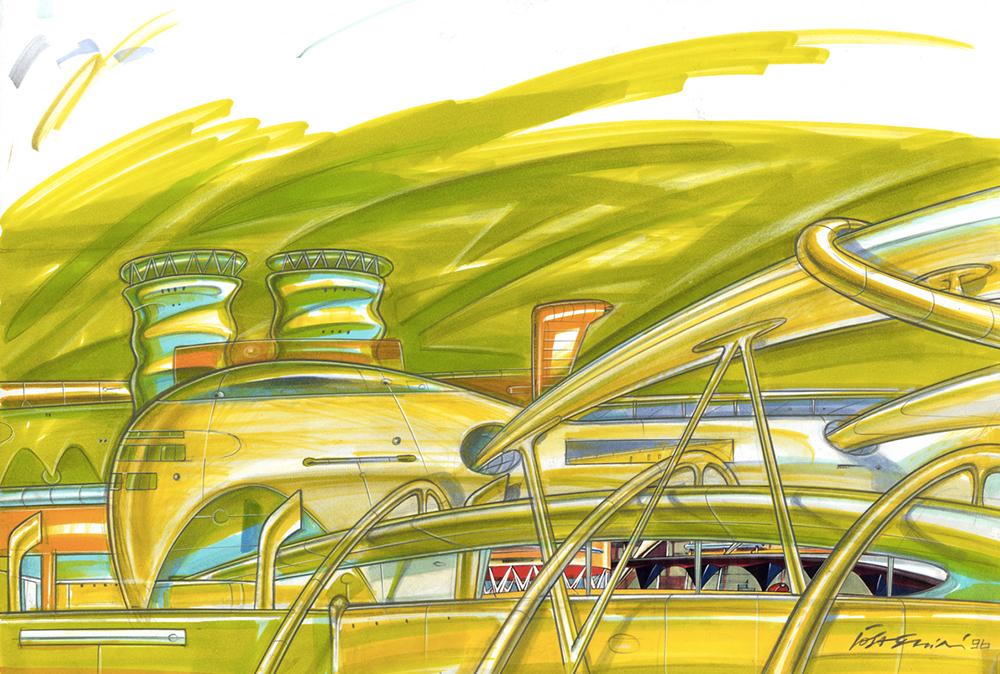 Architettura fluida, 1996, tecnica mista su carta, cm 29.7x42