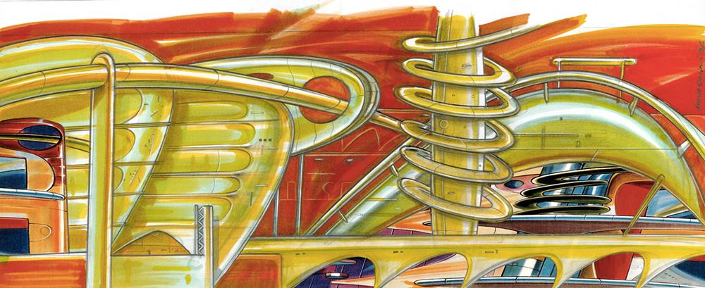 Città fluida, 1996, tecnica mista su carta, cm 29.7x42