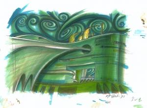 Città fluida verde, 1991, tecnica mista su carta, cm 29.7x42