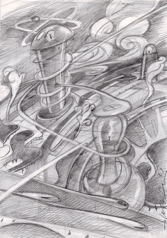 Città in movimento, 1988, matita su carta, cm 42x29.7