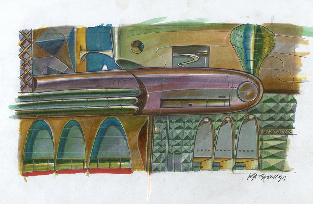 Città, 1991, tecnica mista su carta, cm 29.7x42