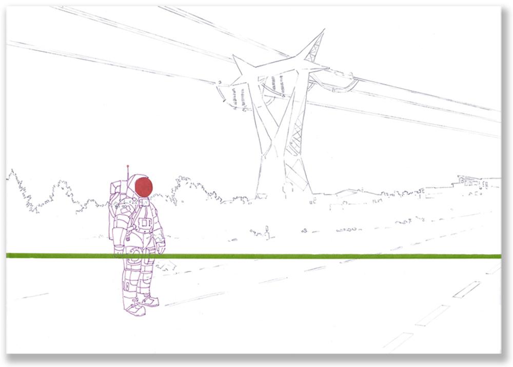 Federico Del Vecchio, Untitled, 2005, disegno su carta su alluminio, cm 93x130