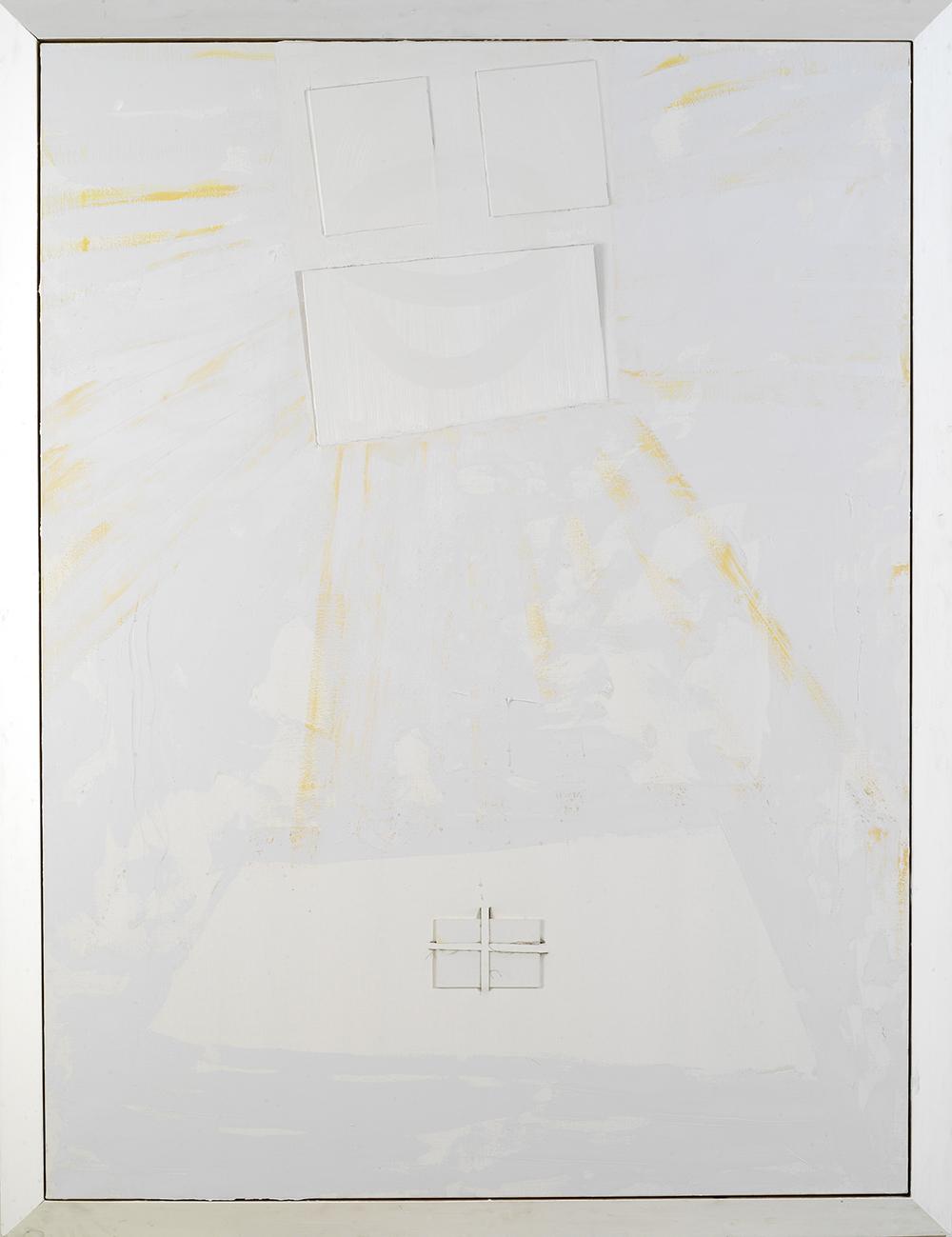 Gianni Dessì, Velo chiaro, 2006, olio su cartoncino telato, tela e legno, cm 221x171