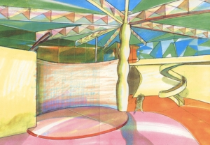 Edificio Kobe Japan, 1992, tecnica mista su carta, cm 29.7x42