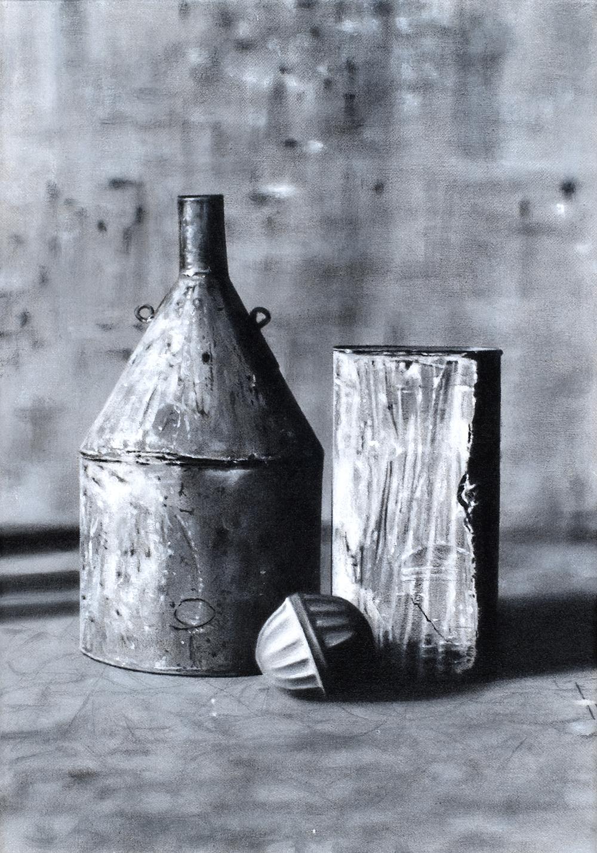 Andrea Facco, Grigiocolore 1 (# Le Cose che Pensano), 2008, grigiocolore su tela, cm 35x50