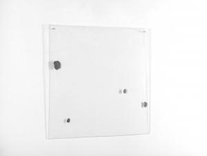Quattro macchie, 1969/70, pittura ad alta percentuale di metallo su plexiglas, cm 61x62