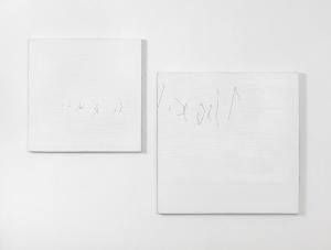 A3 B3, 1976, acrilici, pearl white, pastello e contè su tela, cm 62x96,5