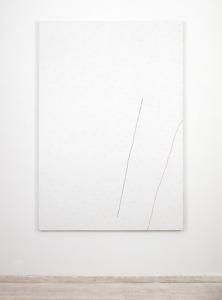 AYQ, 1975, acrilici, pastello, creta rossa e contè su tela, cm 240x165