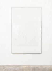 B, 1977, acrilici, pearl white, pastello e contè su tela, cm 200x130