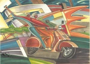 llustrazione per Piaggio, 1987, tecnica mista su carta