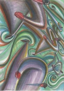 Illustrazione per collezione Tran Tran di BRF, 1992, tecnica mista su carta, cm 29.7x42