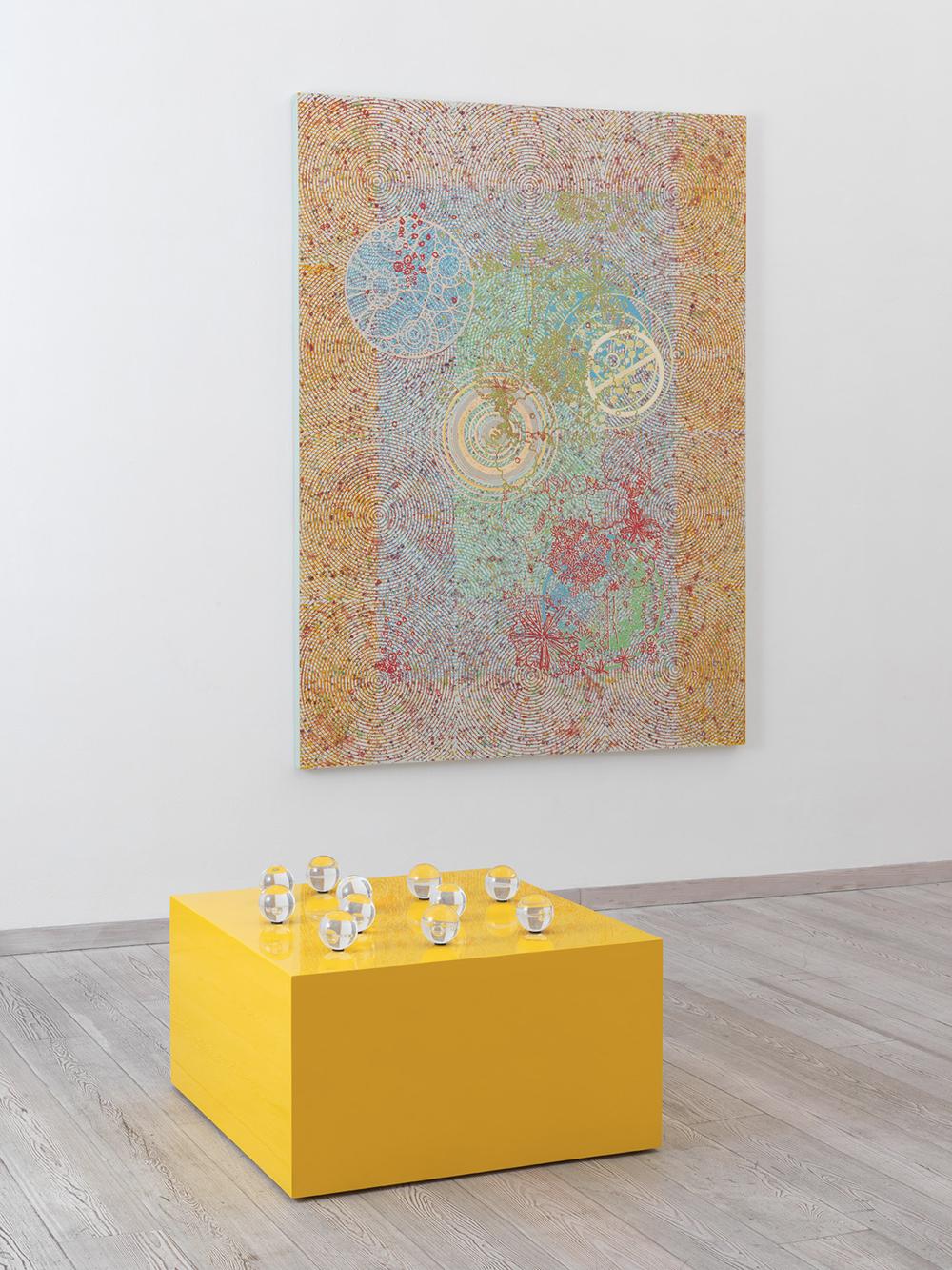 Cose non dette, 2011, legno laccato, vetro, disegni e fotografia, cm 52x86x80 e Astratto, 2010, olio e acrilico su tela, cm 200x150