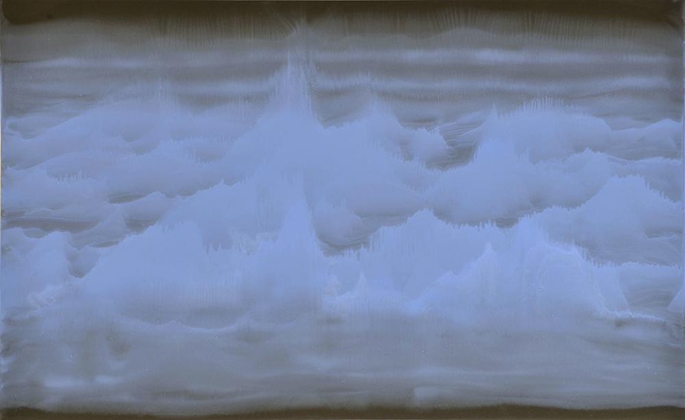 A cielo aperto, 2010, olio su carta abrasiva montato su tela, cm 94x153