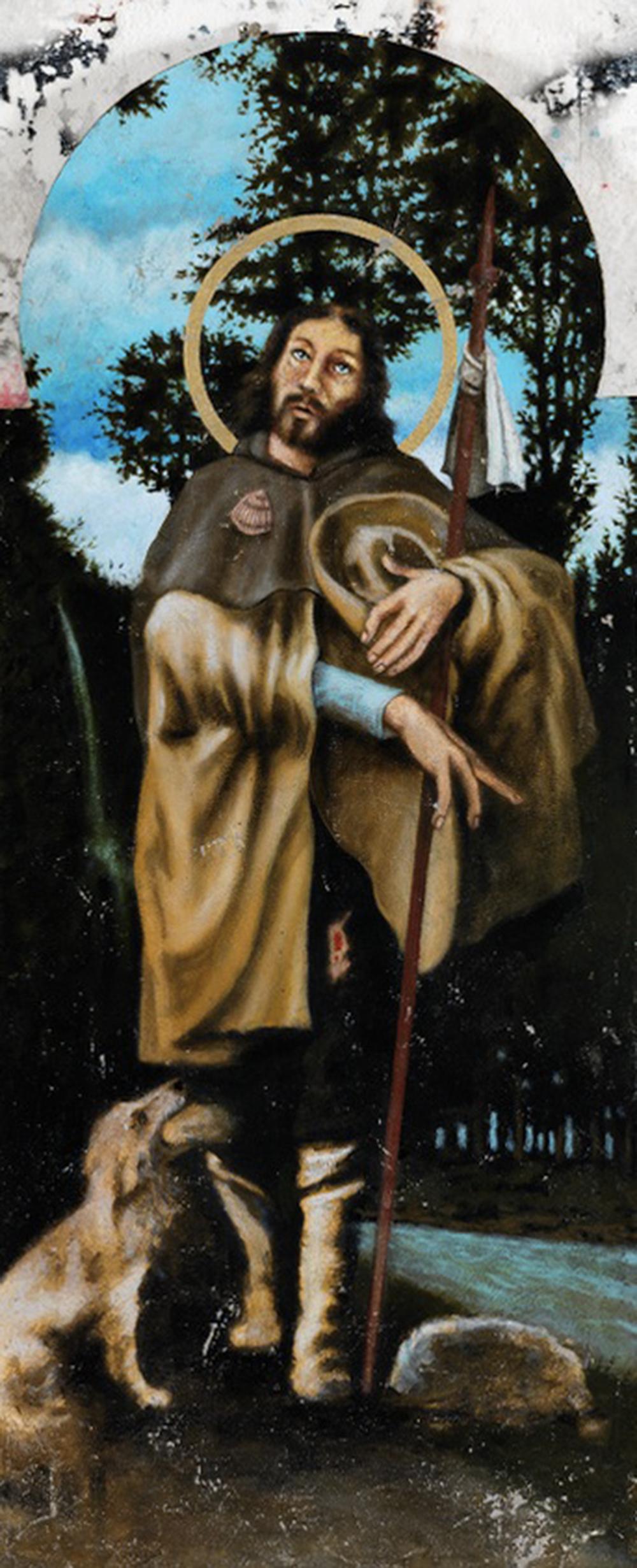 San Rocco (Muro 37), 2012, tecnica mista su tela, cm 118,5x50