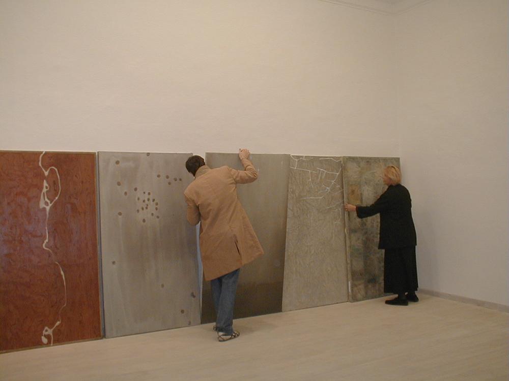 Collections of Paths #0332, 1995, pittura su tela, legno e vetro, cm 183x101,5