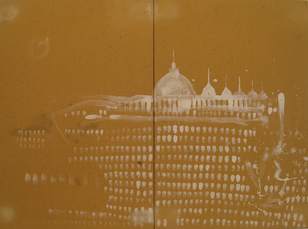 Pizzi Cannella, Cattedrale, 2010, dittico in ceramica, cm 65x45x1 ciasc.