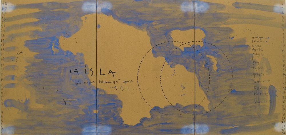 Pizzi Cannella, La isla, 2010, trittico in ceramica, cm 65x45x1 ciasc.