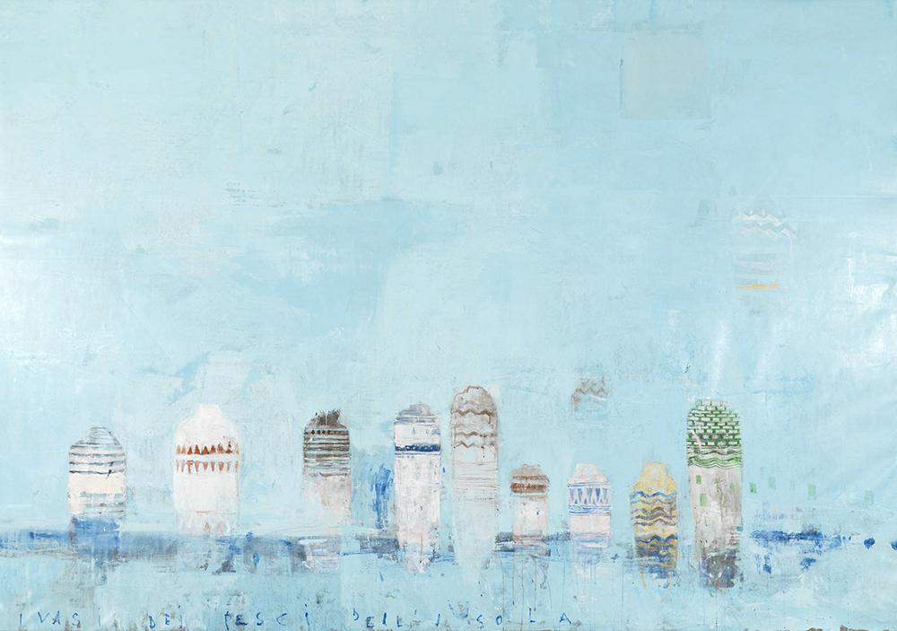 Pizzi Cannella, I vasi dei pesci dell'isola, 2008, olio su tela, cm 207x296