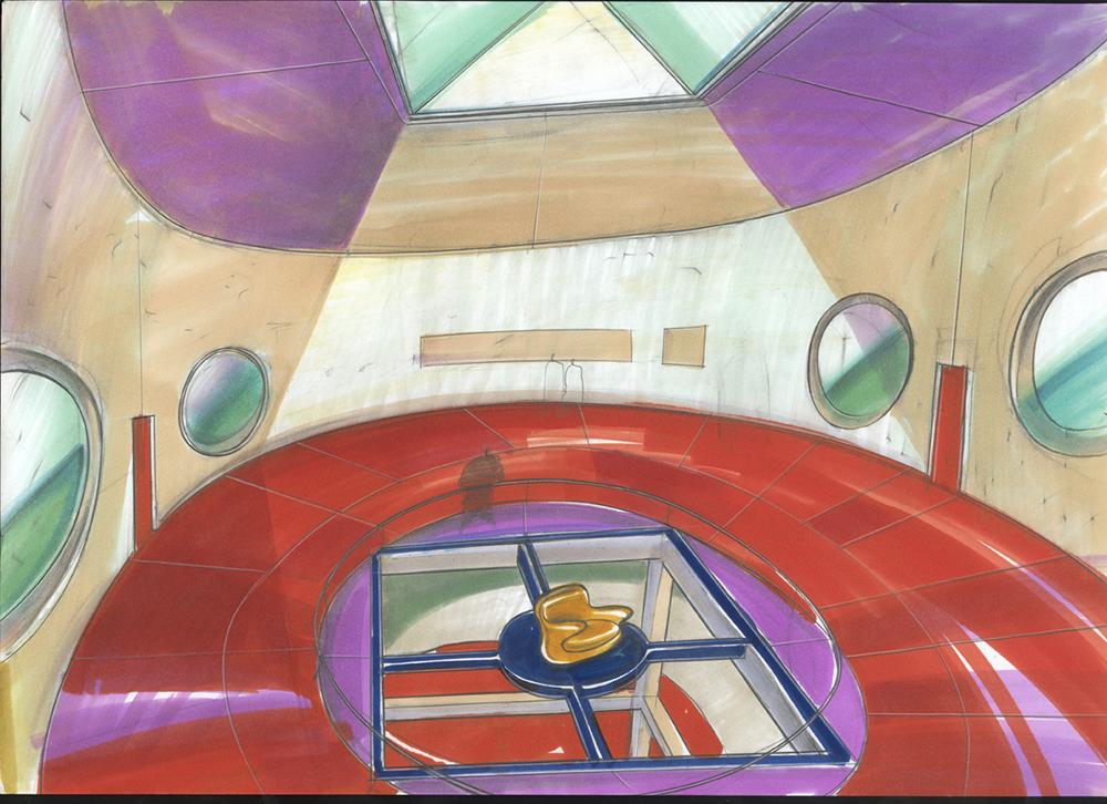 Progetto museo Gent Belgio, 1994, tecnica mista su carta, cm 29.7x42