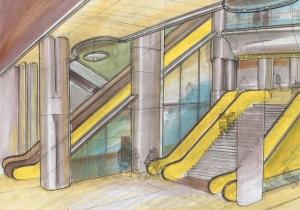 Progetto stazione metropolitana Kropke, 1996, tecnica mista su carta, cm 29.7x42