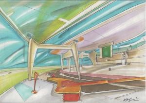 Scenografia televisiva per programma Rai, 1985, tecnica mista su carta, cm 29.7x42