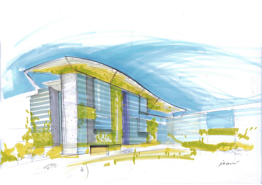 Studio per architetture con integrazione di sistemi di vegetazione e sistemi di risparmio energetico, 2000-2012, tecnica mista su carta, cm 42x59.4