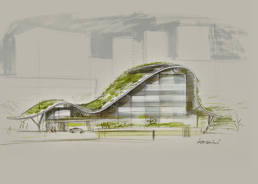 Studio per architetture con integrazione di sistemi di vegetazione e sistemi di risparmio energetico, 2000-2012,  tecnica mista su carta, cm 29.7x42