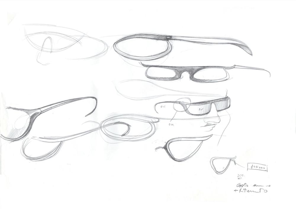 Studio per occhiali da sole Silhuette International, 1991, matita su carta, cm 29.7x42