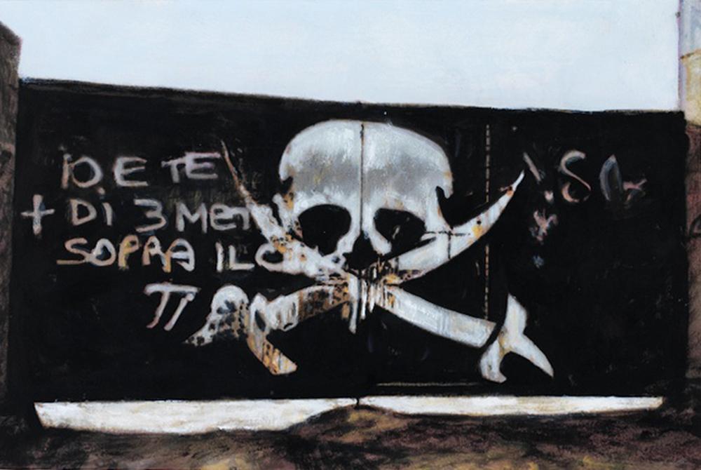 Teschio, 2012, acrilico su carta, cm 20x27