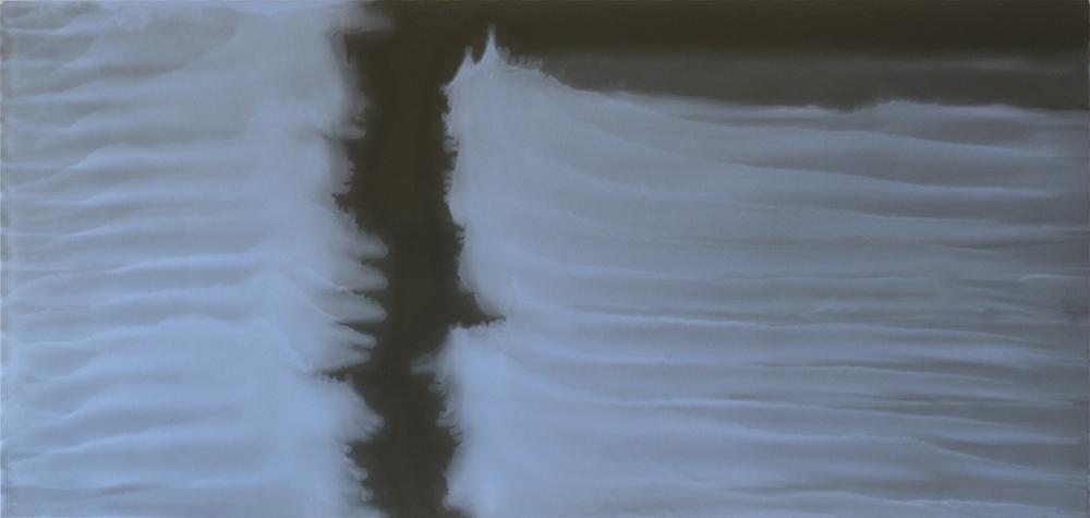 A cielo aperto, 2010, olio su carta abrasiva montato su tela, cm 94x200