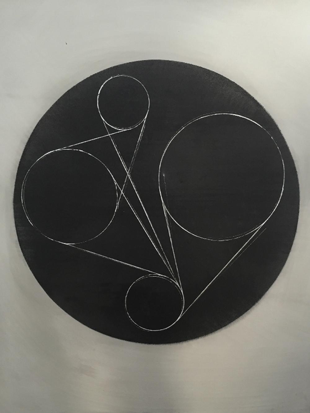 Senza titolo, 2016, gesso, tempera e graffito su tavola, cm 105x85