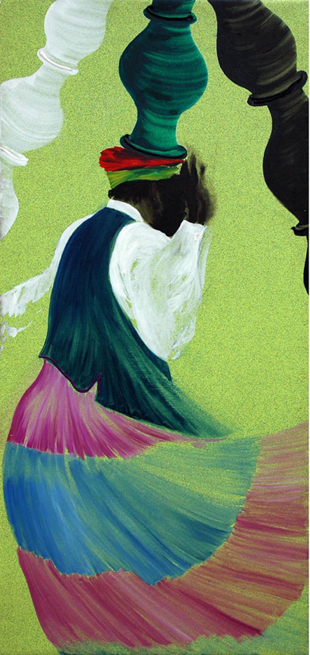 Aldo Mondino, La danse des jarres, 1998, olio su linoleum, cm 190x90