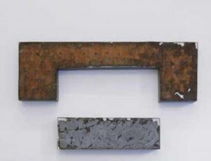 Alessandro Bergonzoni, L'Affioro (scrittura per tempo), 2012, carta, ruggine e lamiera, cm 94x27x10 - cm 165x51x10