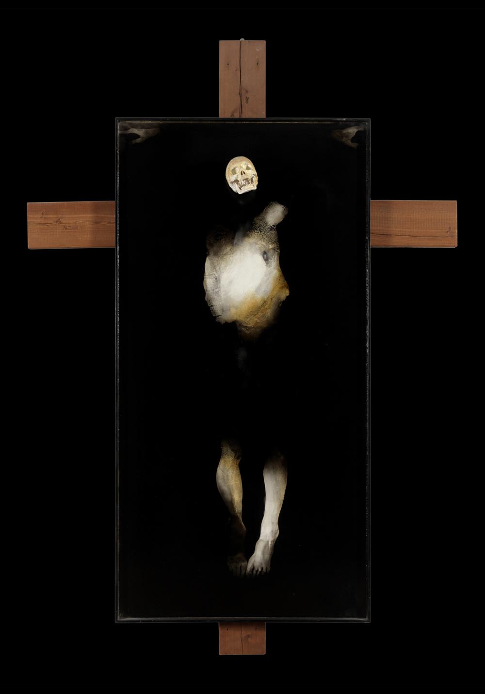 Giovanni Manfredini, Senza morte, 2014, tecnica mista su tavola, cm 200x100