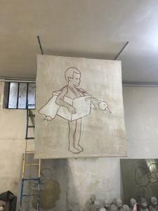 Valerio Berruti, I can fly, 2007, affresco e olio su juta, cm 156x140