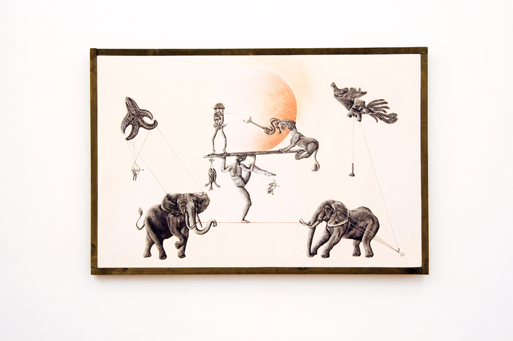 Gaia Santoro, Equo equilibrio, 2016, inchiostro, china e gessetti su compensato preparato, cm 79x115