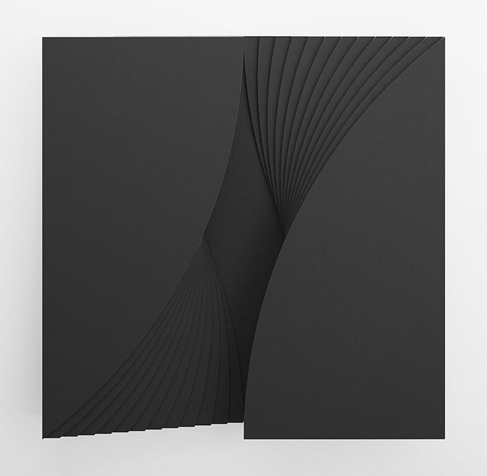 Struttura 490B, 2005, legno laccato nero, cm 100x100x9