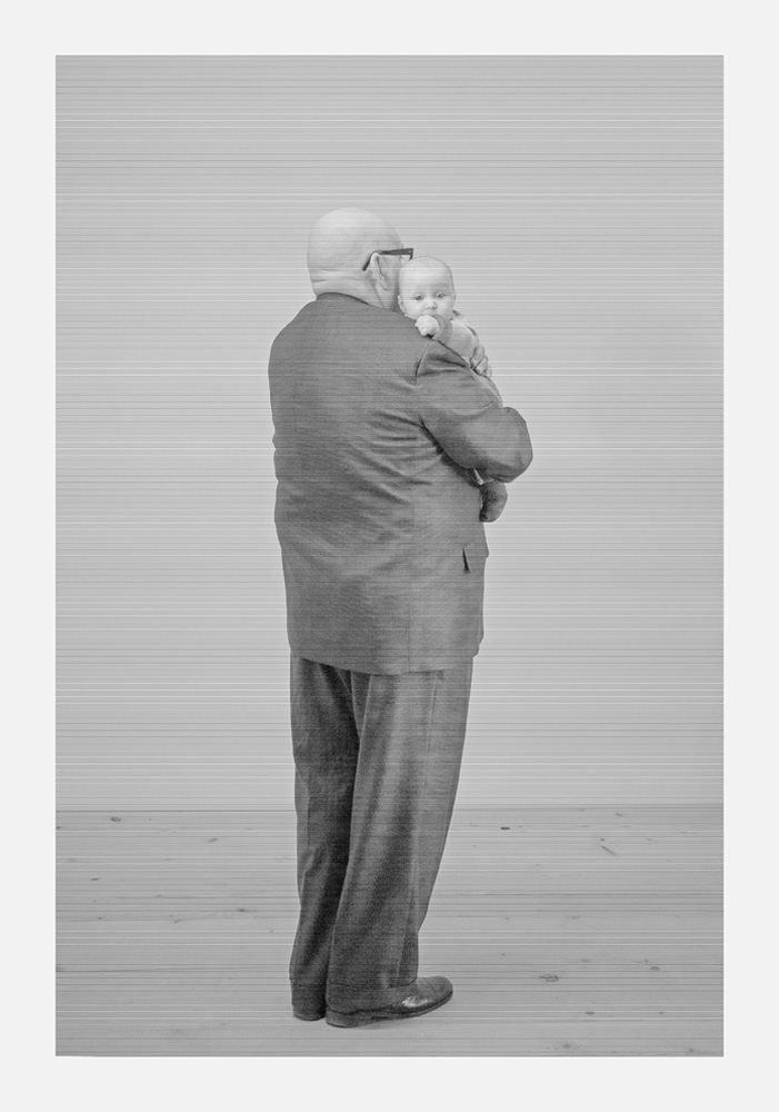 Old Man with Child, from the series Brachland/Wasteland, 2016, B/W photo behind plexiglass, wood, cm 200x150