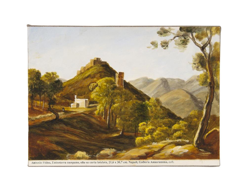 Gabriele Di Matteo, Land Art dal terrazzo. Pitloo - dittico indivisibile Smithson-Scuola di Posillipo, 2014, acrilico su tela, cm 20x30