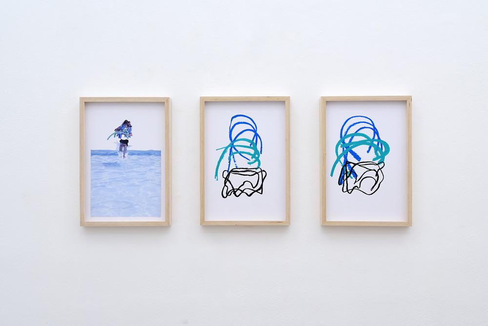 Matteo Fato, (As)salto alla scultura (studio), 2017, pastello su carta con cornice in multistrato, cm 48x33