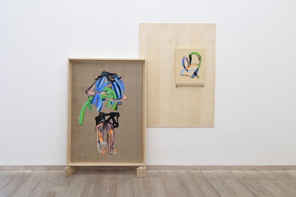 Matteo Fato, (As)salto alla scultura, 2017, olio su lino, cm 100x140 + cm 50x40, cassa da trasporto in multistrato