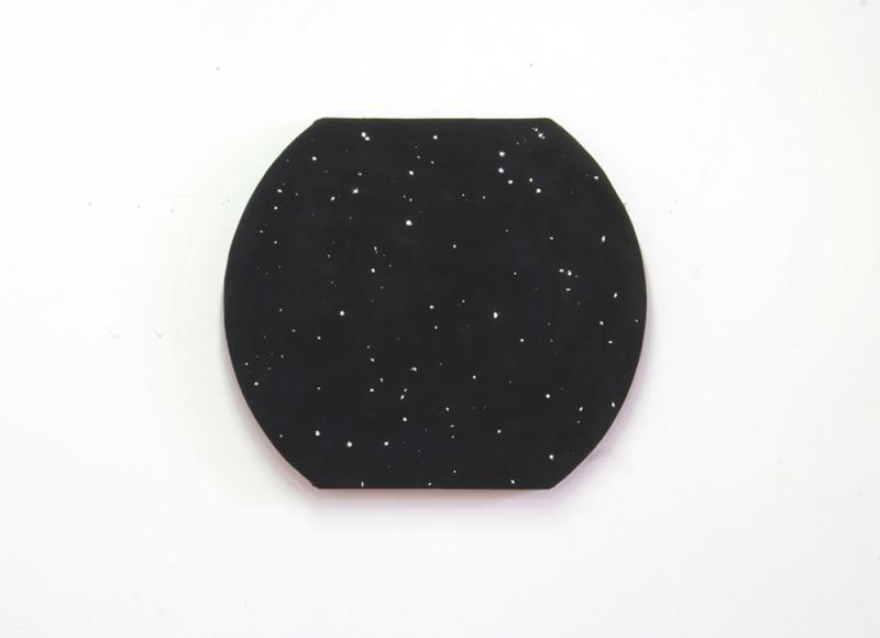 Costellazione, 2019, palline di carta e saliva su tela foderata su telaio sagomato, cm 72x85