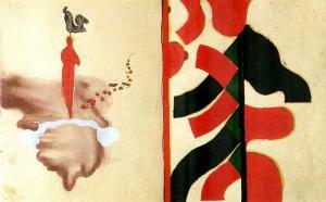 Giuseppe Gallo, Gallo in testa, 1992-1993, tecnica mista su carta, cm 47x75
