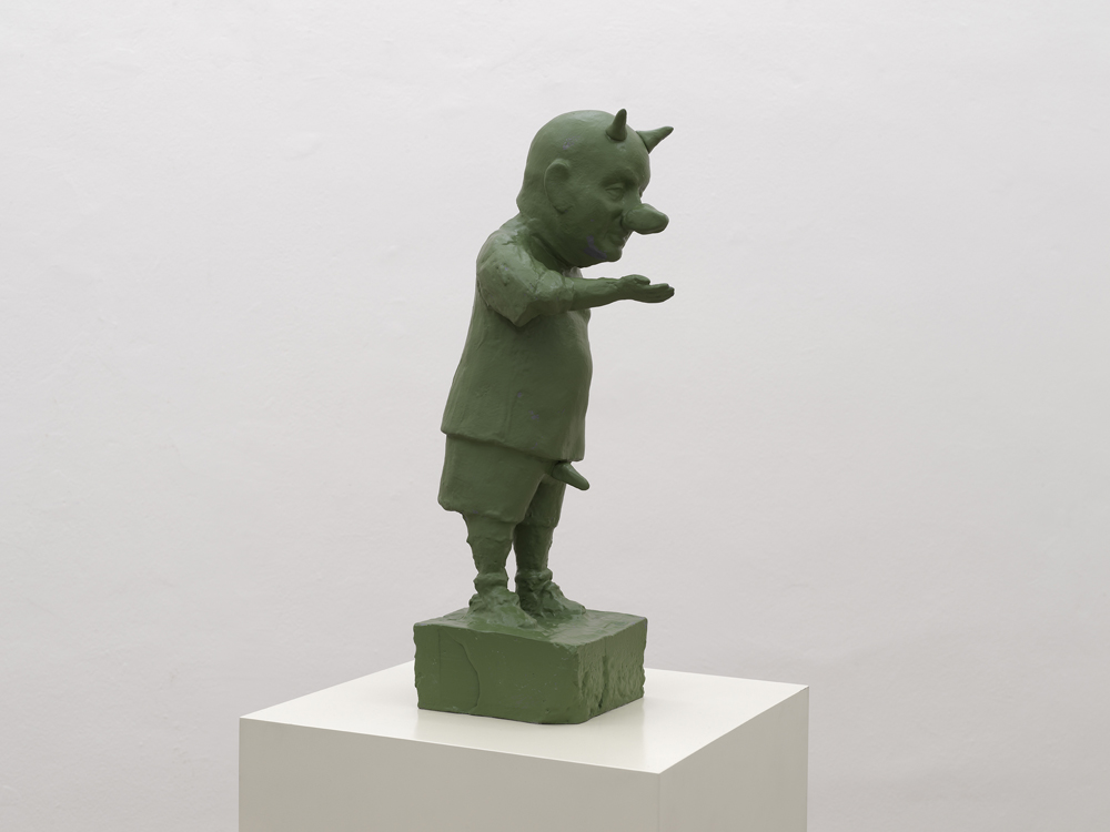 Small Monument, 2011, painted bronze on lacquered wooden base, cm 170x35x35