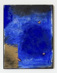 Marco Gastini, Trasparenze, 2017, tecnica mista e terracotta su tavola, cm 51x39